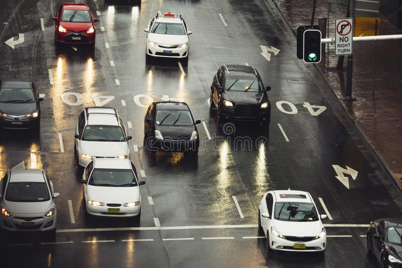 Traffic jam in the city cars on rainy day. Street stock photography