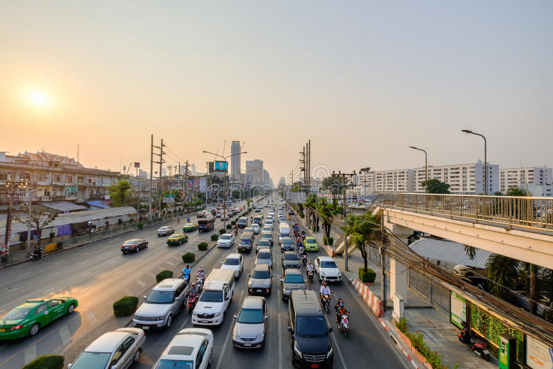 Traffic jam in city center in Bangkok, Thailand. Annually an est. Bangkok, Thailand - February 10, 2017: Traffic jam in city center in Bangkok, Thailand royalty free stock images