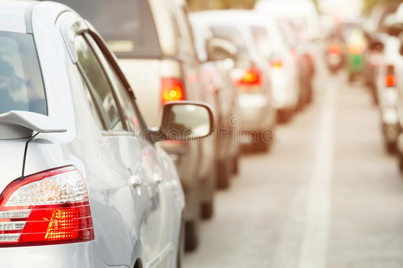 Traffic jam in a city street road row of car on express way in rush hour. royalty free stock photo
