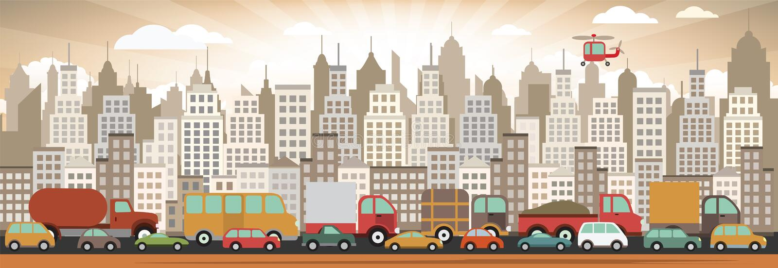 Traffic jam in the city vector illustration