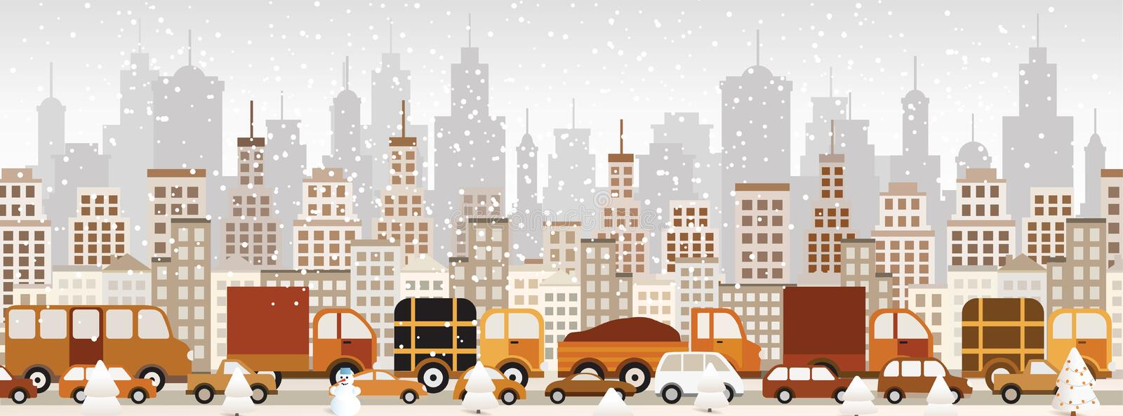 Traffic jam in the city (Winter) vector illustration