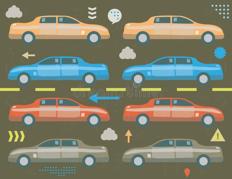 Traffic jam concept. With infographics elements and grunge texture royalty free illustration