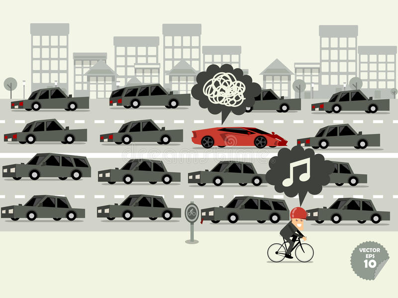 Traffic jam concept. Super car stuck in traffic jam and bicycle go faster vector illustration
