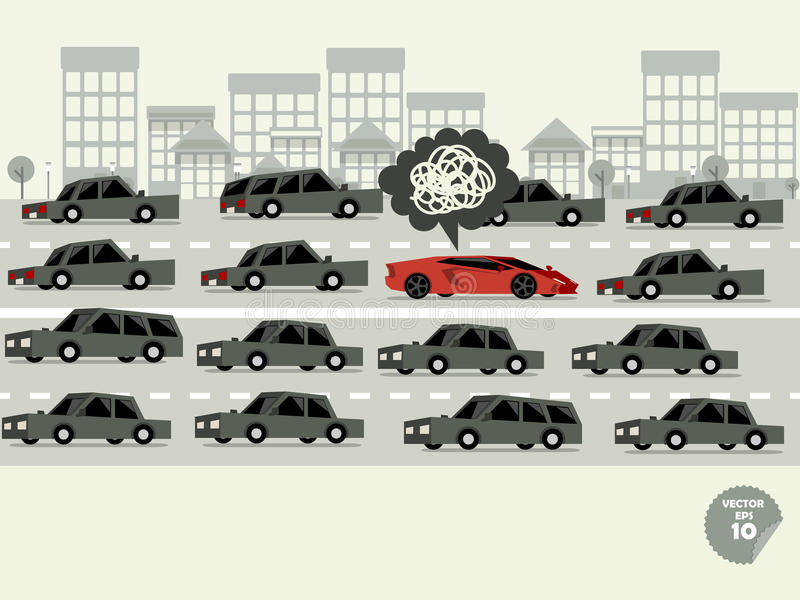 Traffic jam concept. Super car stuck in traffic jam and driver is in bad mood stock illustration