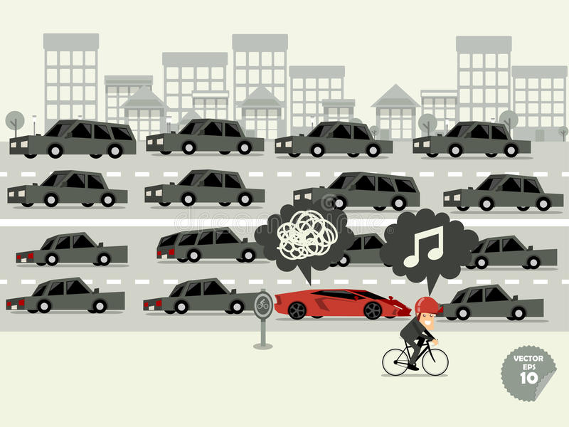 Traffic jam concept,super car stuck in traffic jam and bicycle go faster vector illustration
