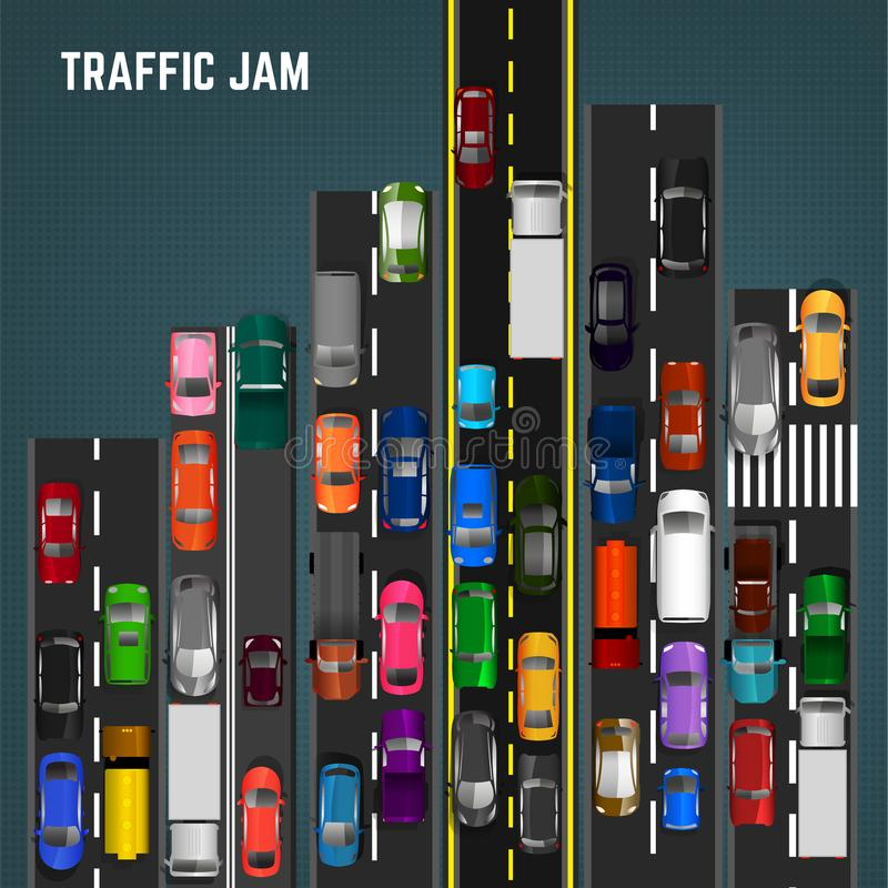 Traffic Jam Concept. Top view traffic jam concept. Editable vector illustration in modern flat style. Automotive collection. Abstract transport problem royalty free illustration