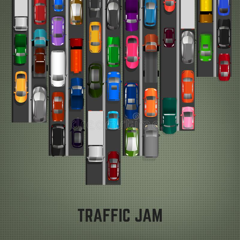 Traffic Jam Concept. Top view traffic jam concept. Editable vector illustration in modern flat style. Automotive collection. Abstract transport problem vector illustration