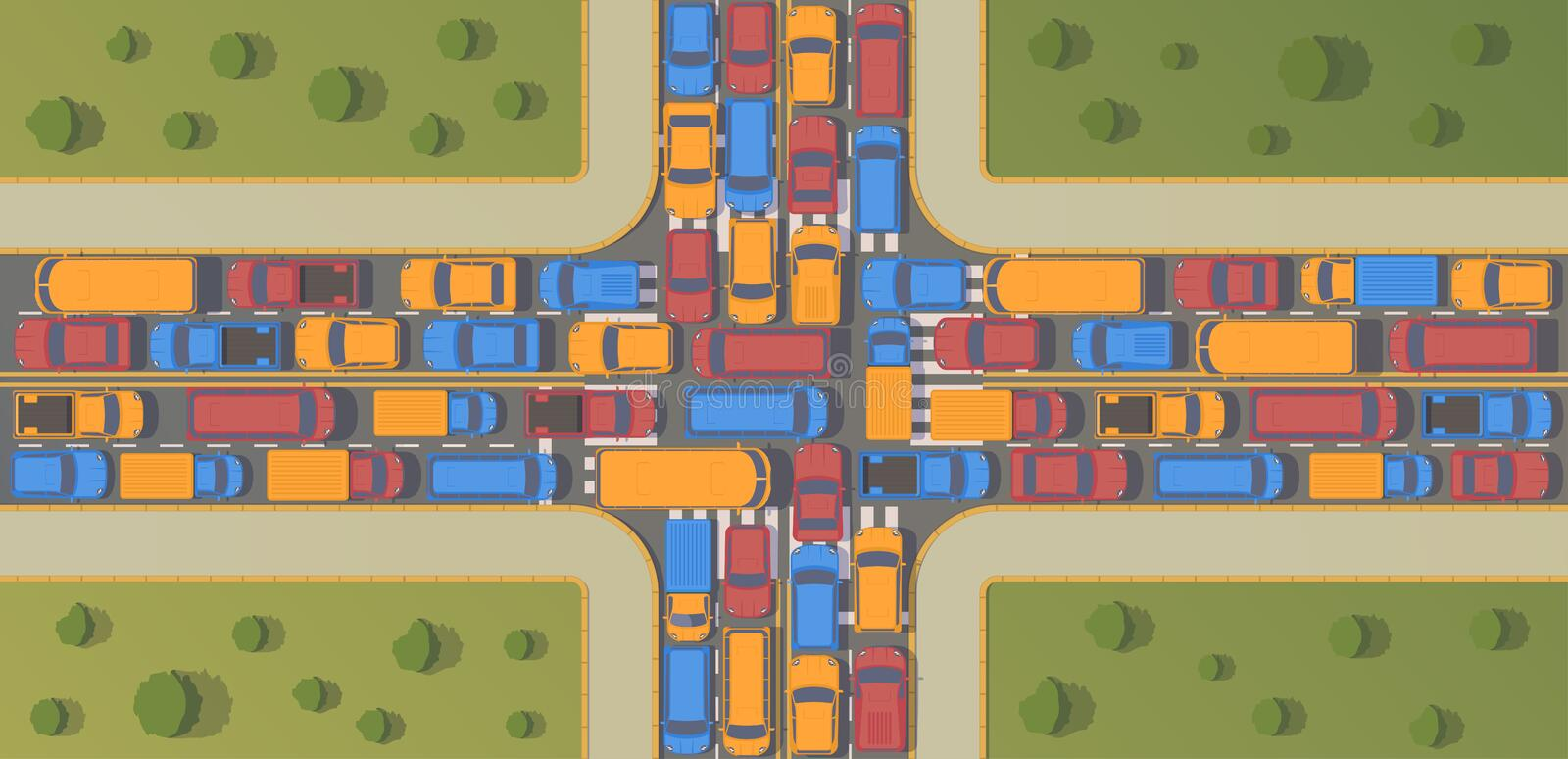 Traffic jam on crossroad. Large congestion of cars. Top view flat illustration. Traffic jam on crossroad. Large congestion of cars. Top view vector flat royalty free illustration
