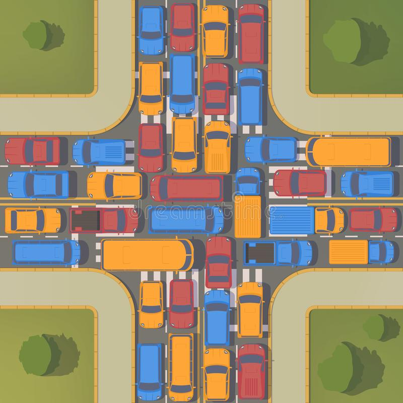 Traffic jam on crossroad. Large congestion of cars. Top view flat illustration. Traffic jam on crossroad. Large congestion of cars. Top view vector flat vector illustration