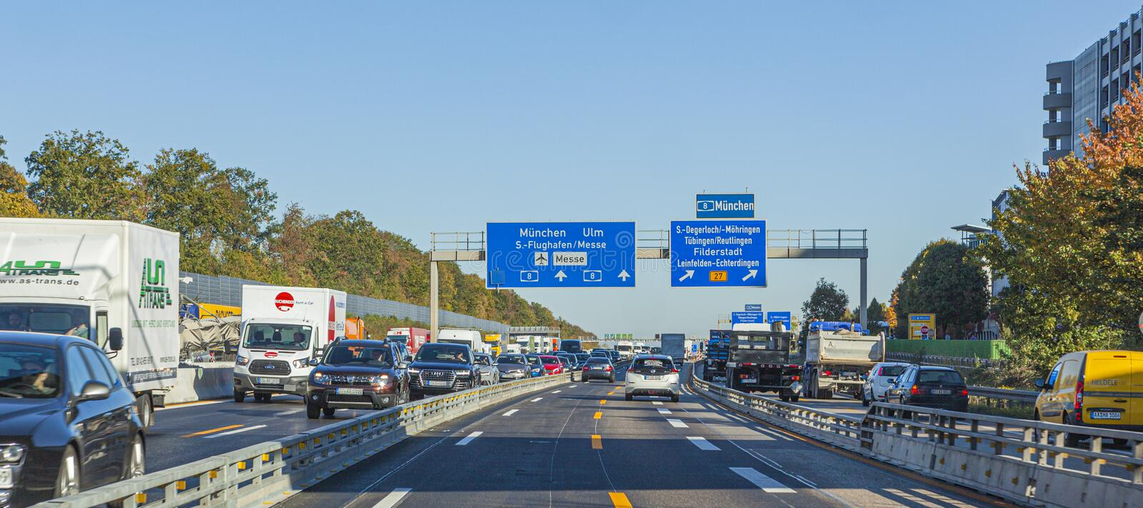 Traffic Jam on German Autobahn causes air pollution royalty free stock photography