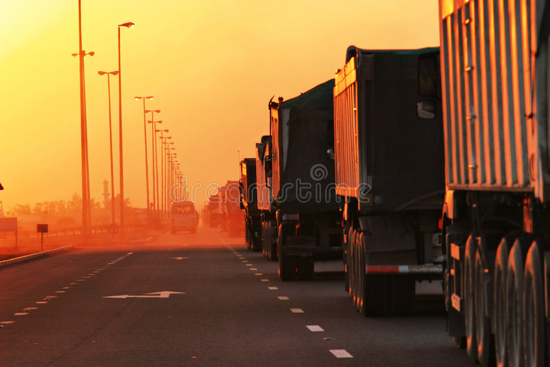 Traffic Jam of Heavy Trucks royalty free stock photos