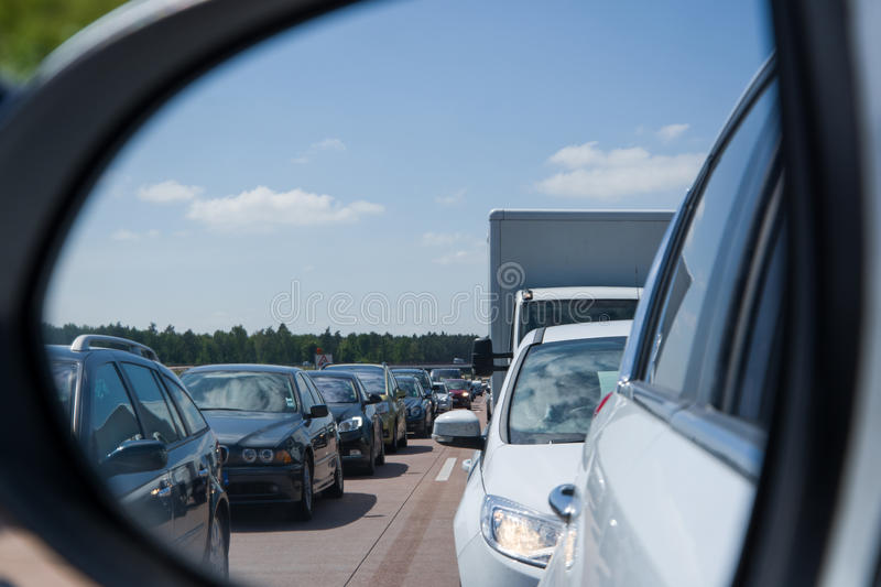 Traffic Jam at the Highway. In Germany stock photos