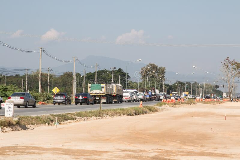 Traffic Jam  on highway road near Juction royalty free stock photography