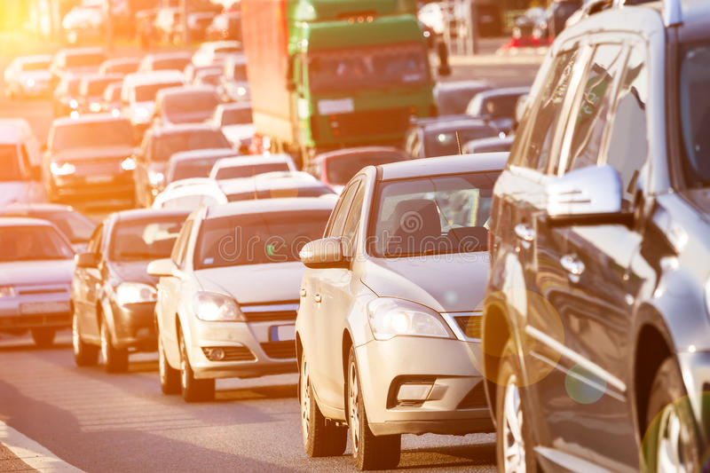 Traffic jam on the highway royalty free stock photos