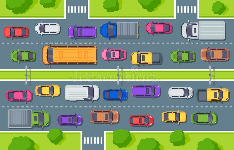 Traffic jam. Highway top view, trucks cars on road and car traffic control vector illustration vector illustration