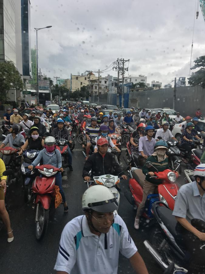 Traffic jam in Ho Chi Minh City, Vietnam. Many motorcycles struck in traffic jam in the morning at Ho Chi Minh City, Vietnam stock image