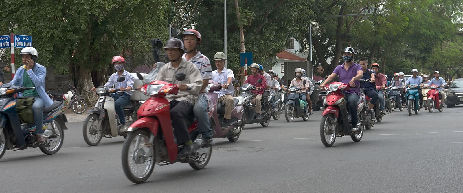 Traffic Jam in Ho Chi Minh City Vietnam. People on motorbikes in Vietnam