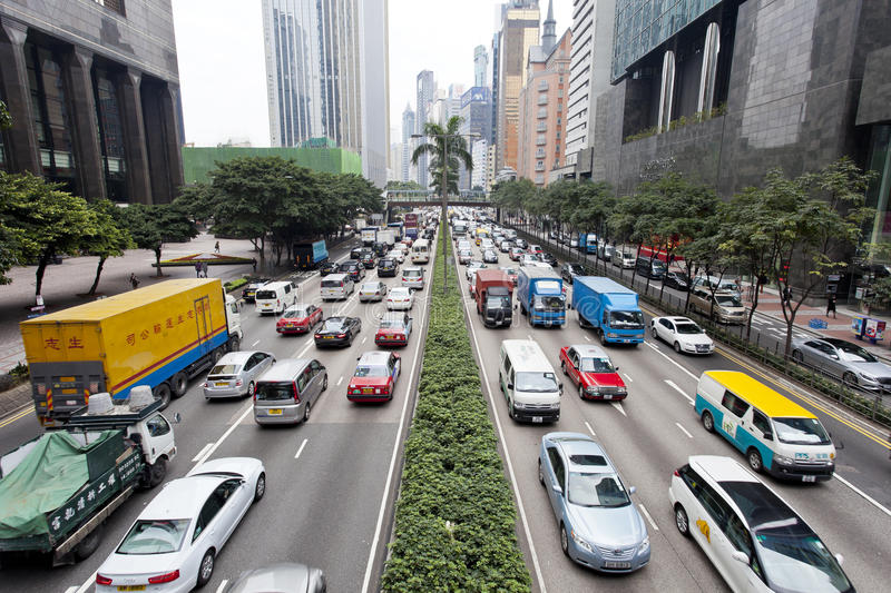 Traffic jam in Hong Kong. HONG KONG - FEB 9, Traffic jam at Wan Chai, Hong Kong on 9 February, 2014. It is one of the busiest district in Hong Kong. Hong Kong's stock images