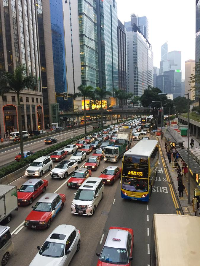 Traffic jam in Hong Kong Island stock photos
