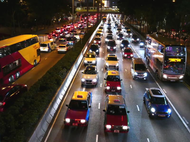 Traffic jam in Hong Kong stock photo