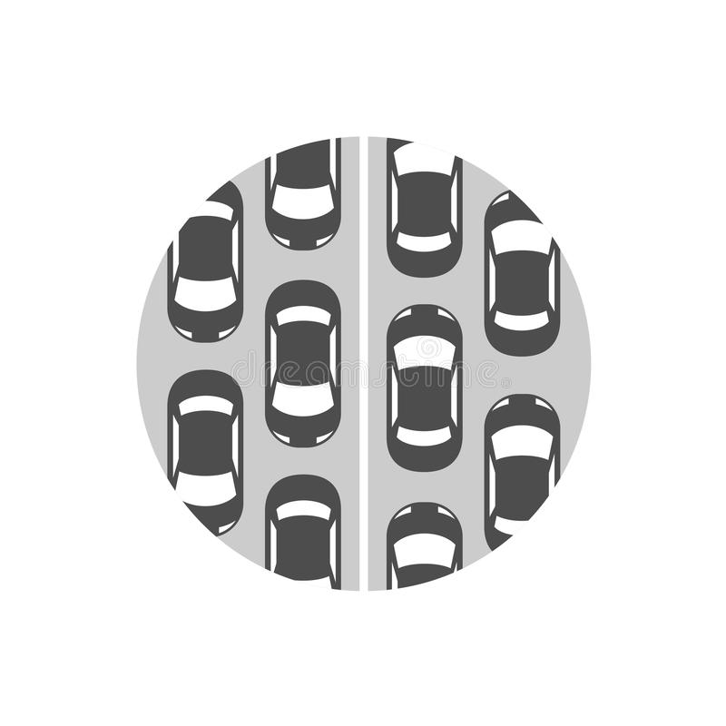 Traffic jam icon. Cars in a rows symbol. Traffic jam icon. Grayscale color a lot of cars standing on a road in a queue top view symbol vector illustration