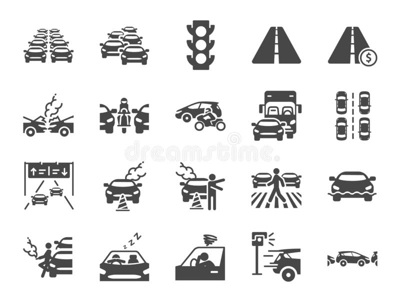 Traffic jam icon set. Included icons as congestion, transport, broken car, road and more. vector illustration