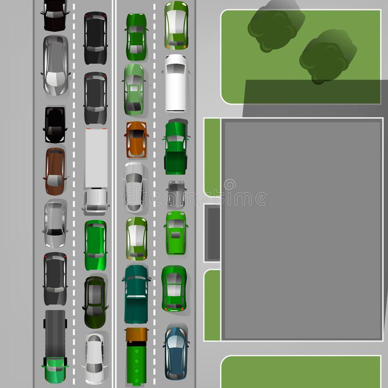 Traffic Jam Image. Heavt traffic background with different car images. Busy road in a city. Aerial view. Editable vector illustration in modern flat style stock illustration