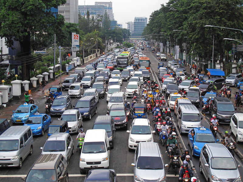 Traffic jam in Indonesia. Traffic in Jakarta, capital of Indonesia stock image