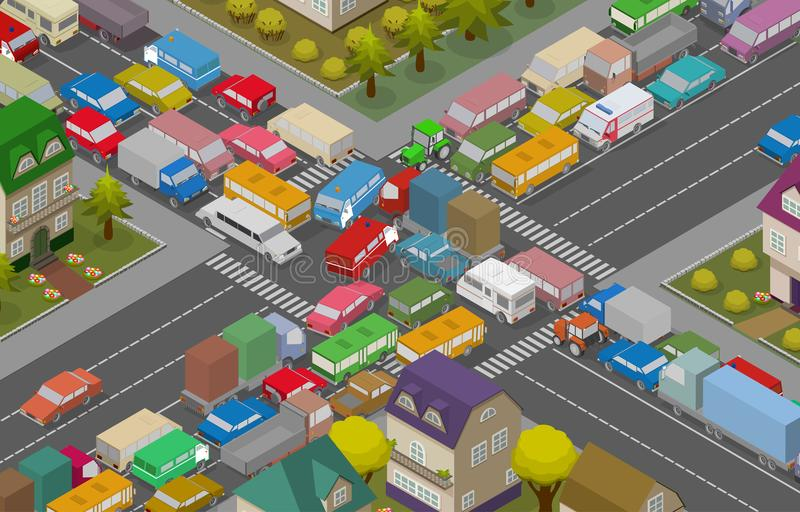 Traffic Jam. Isometric Cars and Houses for Illustration Of Busy Road. Vector royalty free illustration