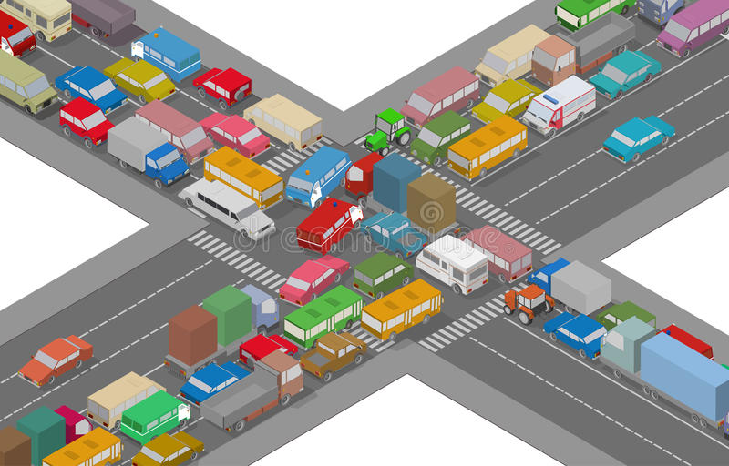 Traffic Jam. Isometric Cars and Houses for Illustration Of Busy Road. vector illustration