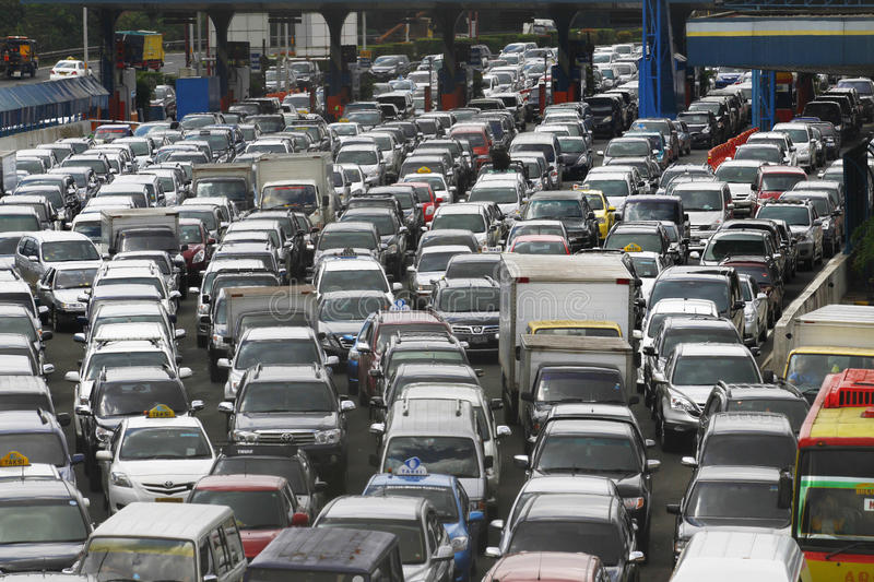 Traffic jam in Jakarta Indonesia. Traffic jam in Jakarta city, Indonesia royalty free stock photos