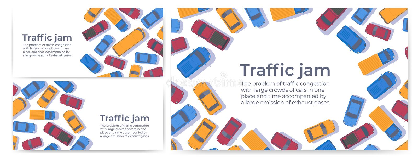 Traffic jam. Large congestion of cars. Web banner or poster design template. Traffic jam. Large congestion of cars. Set of web banner or poster design template royalty free illustration