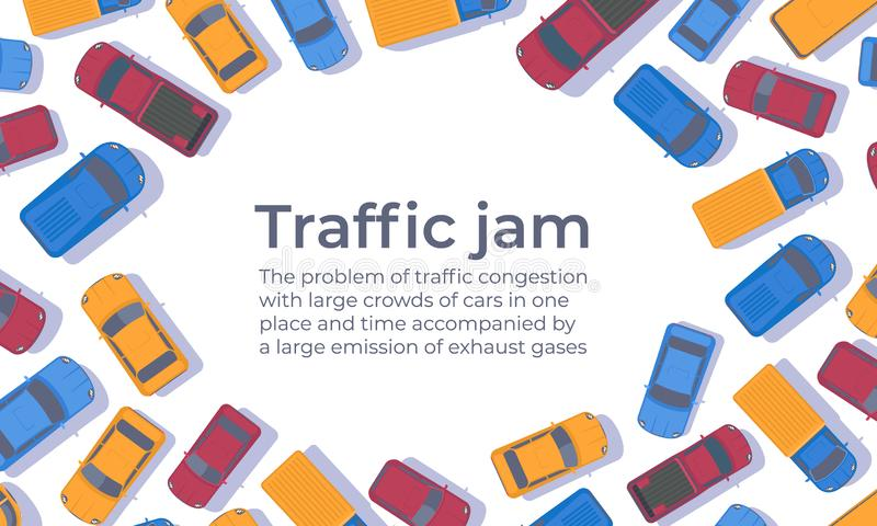 Traffic jam. Large congestion of cars. Web banner or poster design template. Top view vector flat illustration stock illustration