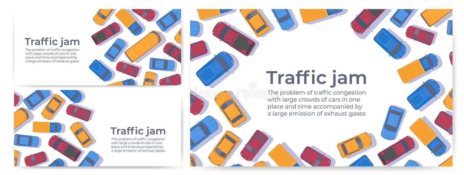 Traffic jam. Large congestion of cars. Web banner or poster design template. Top view vector flat illustration royalty free illustration