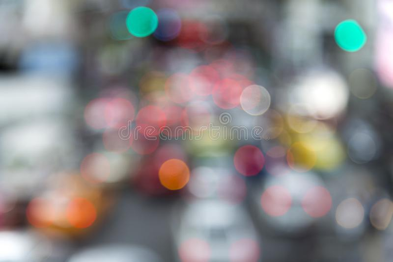 Traffic jam lights cars on road in rush hour for Bangkok city, T royalty free stock photo