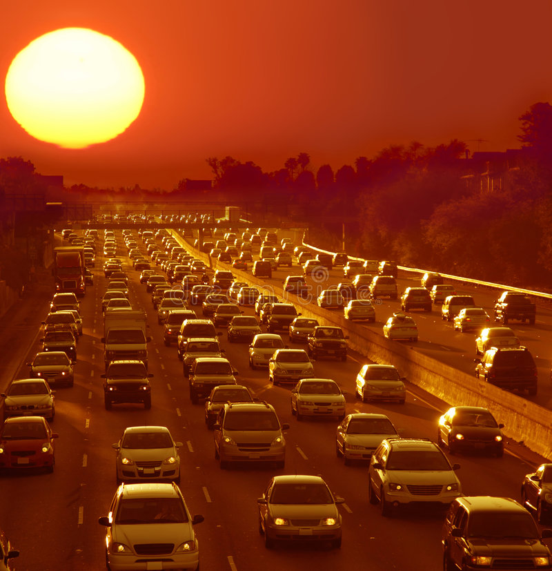 Traffic jam in Los Angeles. At sunset royalty free stock photos