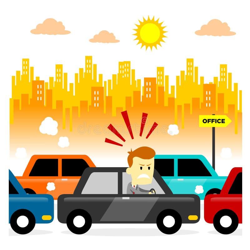 Traffic Jam. Man feeling stressed getting stuck in a morning traffic jam (in Flat Cartoon Style vector illustration