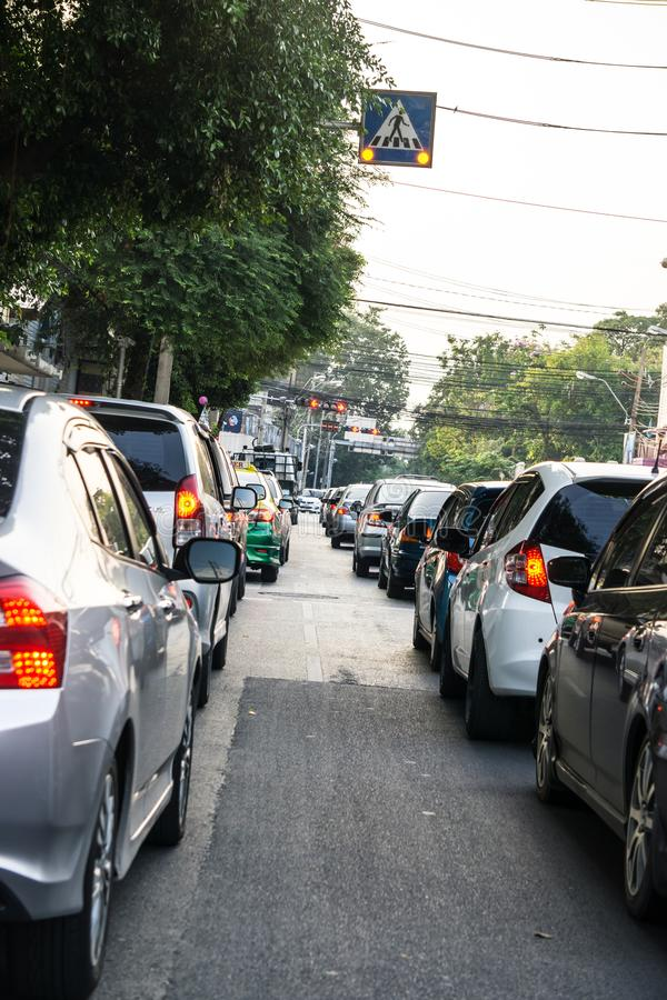 Traffic Jam on Morning Bangkok royalty free stock photo