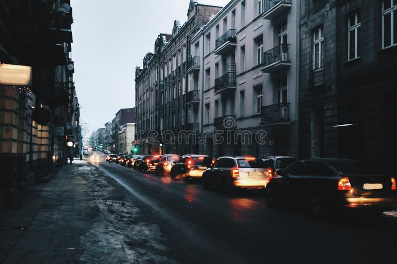 Traffic jam in the night city. stock photography