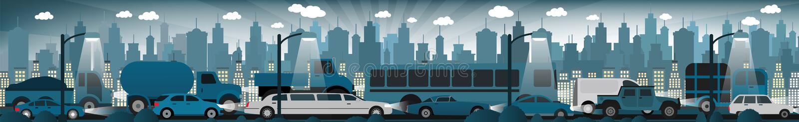 Traffic jam in the night city stock illustration