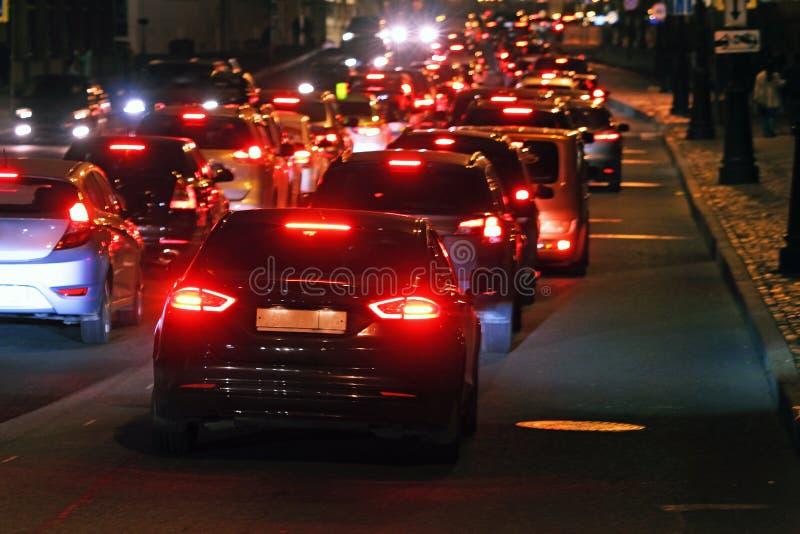 Traffic jam on a night street stock photo