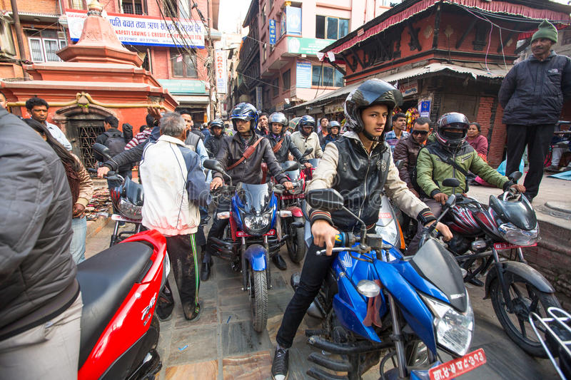 Traffic jam in one of a busy street in the city center, Dec 1, 2013 in Kathmandu, Nepal. royalty free stock images