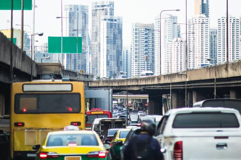 Traffic jam at Rama 3 road Klongtoey Bangkok Thailand. April 22, 2019 royalty free stock image
