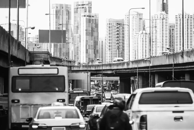 Traffic jam at Rama 3 road Klongtoey Bangkok Thailand. April 22, 2019 stock photography