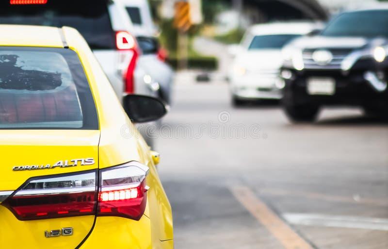 Traffic jam at Rama 3 road Klongtoey Bangkok Thailand. April 22, 2019 royalty free stock photos