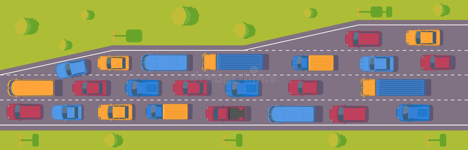 Traffic jam. Road dence traffic on motorway or highway. Different car on road. Top view vector. Traffic jam. Road dence traffic on motorway or highway vector illustration