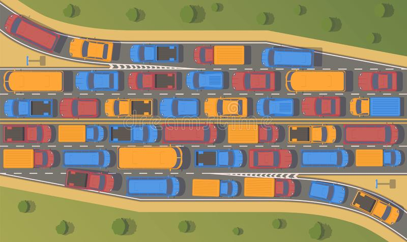 Traffic jam on road junction. Large congestion of cars. Top view flat illustration stock illustration