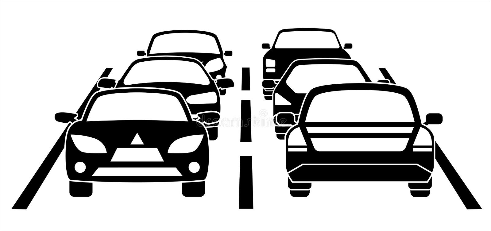 A traffic jam on the road vector illustration