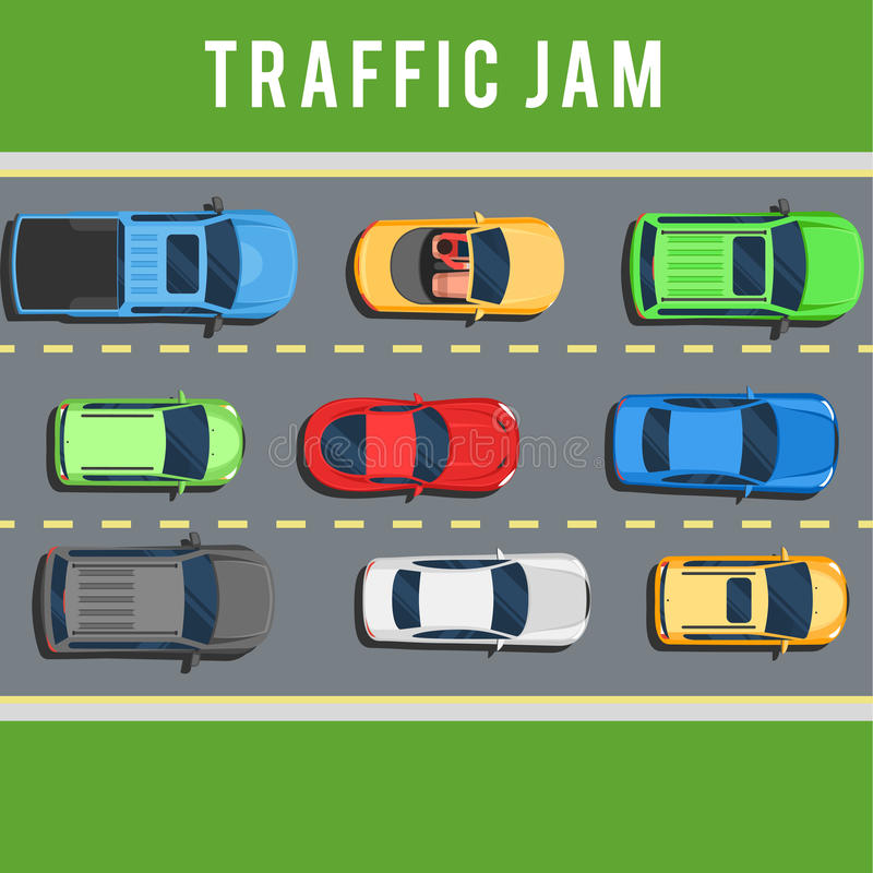 Traffic jam on road. Traffic jam, transport collapse on road. Many cars on road top view concept. Color Flat style vector illustration background for web design stock illustration