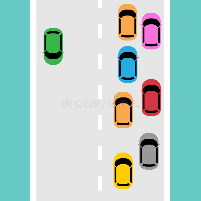 Traffic jam on the road. Vector illustration of traffic jam on the road royalty free illustration